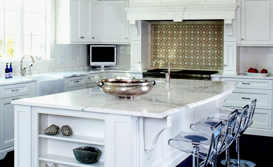 Kitchen island with white marble