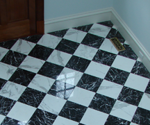 Marble Diamond White and Black Foyer Entrance