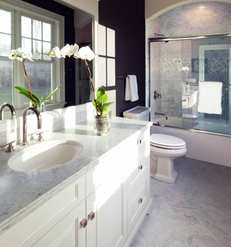 White Carrera Floors, Counter Tops and Shower Wall