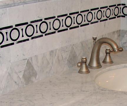 White Marble Bath Sink with Tile Back Splash