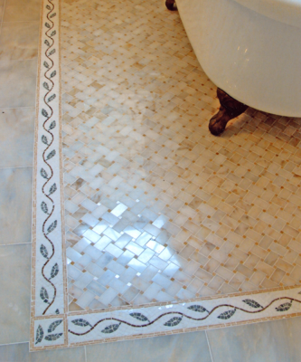 Floor Mosaic of Afyon Sugar Marble and Leaf and Border of Thassos Marble